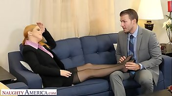 Footjob Stockings Redhead