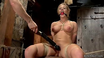 Hogtied Dildo Blonde Rough