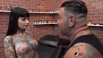 Bizarre Tattoo Shaved Busty